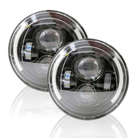 1 Pair 7 inch LED Headlights For Lada 4x4 Urban With White Amber Turn Signal Headlamp For Jeep Wrangler Land Rover Defender