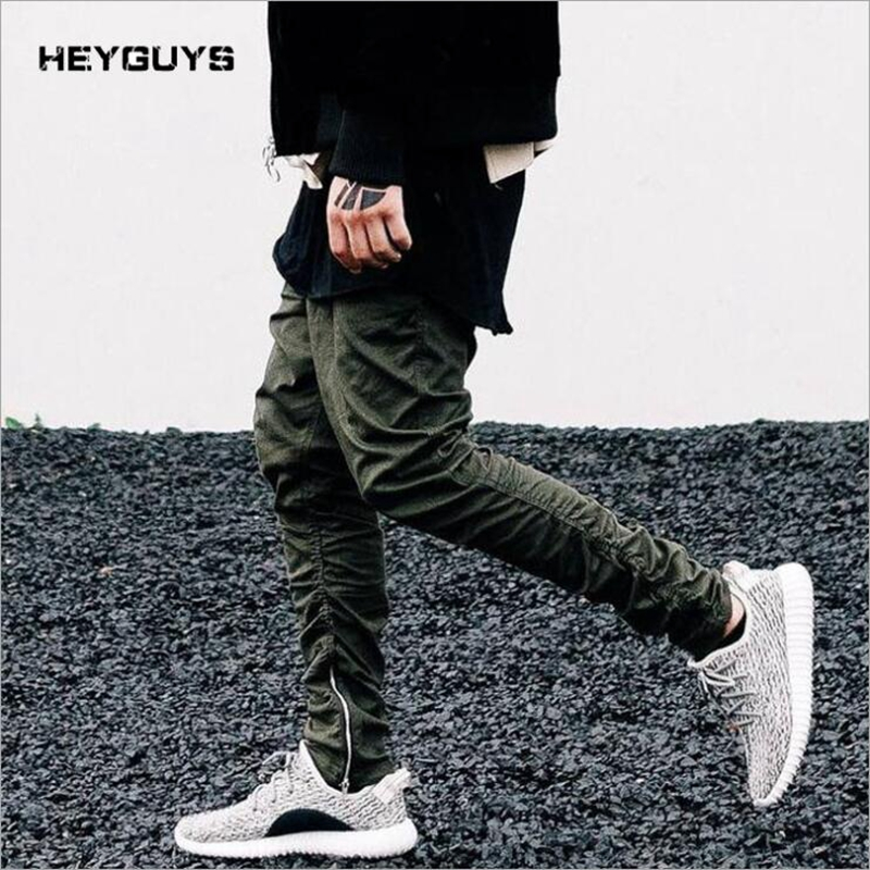 HEYGUYS Trousers Joggers Sweatpants Botton Skinny High-Street Casual Hip-Hop Zipper Solid