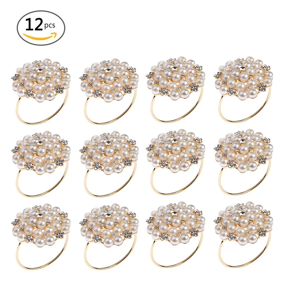 12pcs Dinner Banquet Faux Pearl Napkin Ring Serviette Buckle Holder Wedding Birthday Date Anniversary Party Table Decoration 40