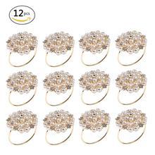 12 шт. ужин банкет искусственное кольцо для салфеток жемчуг пряжка-держатель для салфетки свадьба день рождения Дата юбилей вечерние украшения стола 40