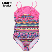 One-Piece Swimsuits Bikini Beach-Wear Charmleaks Vintage Printed Tassel Ethnic-Style