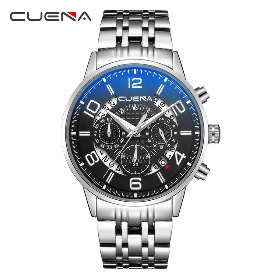 цена CUENA Top Brand Luxury Wrist Watch Men Military Army Sport Male Clock Steel Strap Mens Watches Date Business Quartz Pilot Watch
