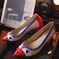 Sapatas Da Mulher Do Dedo Do Pé Apontado Pequenos Monstros Rebites Slip-On Sapatos Femininos Quadrados sapatos de Salto Confortáveis Sapatos Da Moda Plus Size 2016 EUA 11