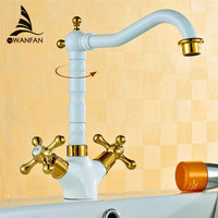 Free Shipping Golden Grilled White Paint Basin Crane Brass Swivel Bathroom Basin Sink Mixer Tap Double