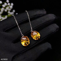 KJJEAXCMY fine jewelry 925 pure silver inlaid natural Topaz female ear stud earnail safety buckle sunflower support test