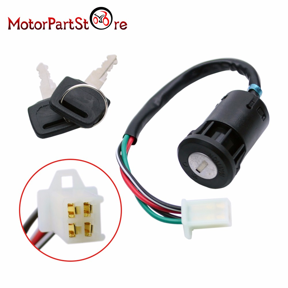 4 Pin Wire On  Off Ignition Key Switch For 50cc 70cc 90cc