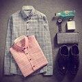 Design de moda manga longa camisas roupas tartan impressa algodão dos homens camisa dos homens camisa xadrez estilo britânico tartan