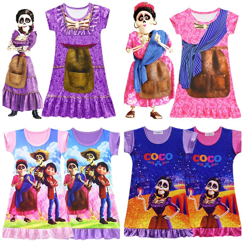 2019 New Movie COCO Miguel Dress for Baby Girls Summer Swimsuits for Kids Holiday Beach Dress Nightgown Homewear