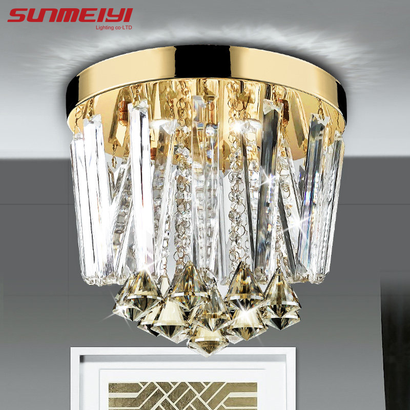 2018 Modern Round LED Crystal Ceiling Lights aisle entrance Lights For Home Living Room Bedroom Light Fixtures lc1d series contactor lc1d25 lc1d25bdc 24v lc1d25cdc 36v lc1d25ddc 96v lc1d25edc 48v lc1d25fdc 110v lc1d25gdc lc1d25jdc 12v dc