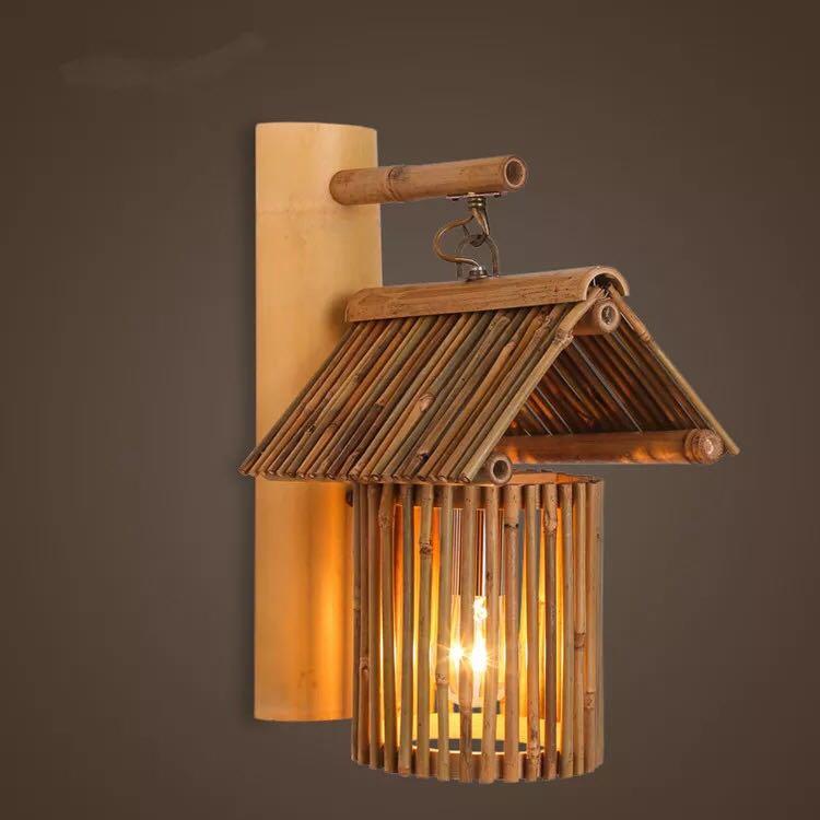 Bamboo lamp decorative wall lamp creative aisle Cafe