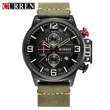 Часы наручные CURREN Мужские кварцевые, спортивные аналоговые армейские в стиле милитари, с календарем, повседневные