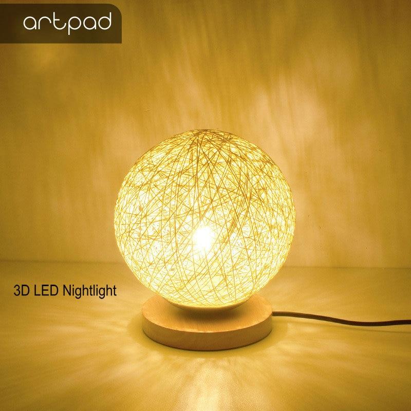Artpad Modern Pastoral Wicker LED Nightlight AC90-260V Rattan Lampshade Vine Ball E27 Holder Wood Desk Lamp for Girl Kid Bedroom