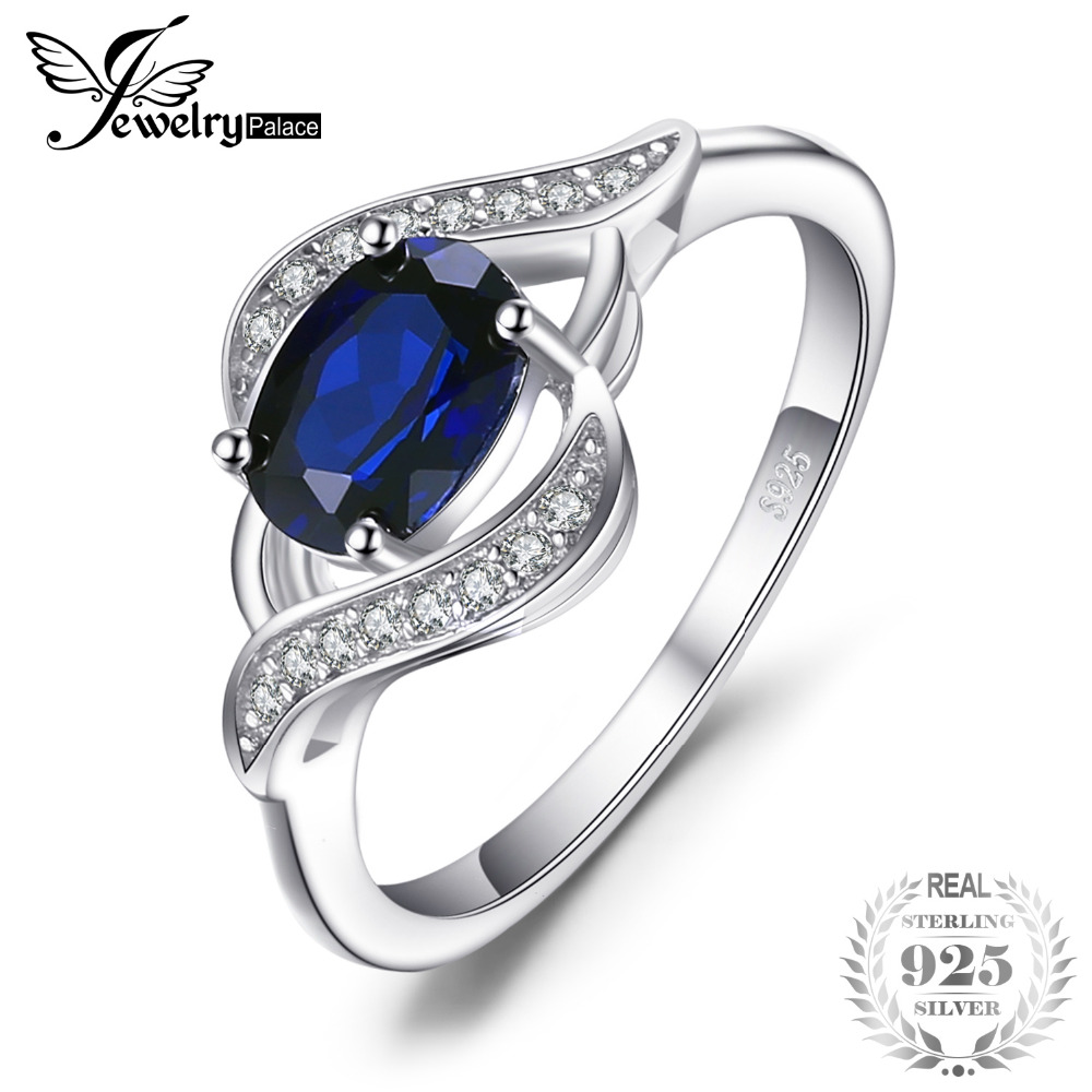 JewelryPalace Oval 1.1ct Created Blue Sapphire Statement Ring 925 Sterling Silver Fashion Luxury Wedding Party Jewelry For Women