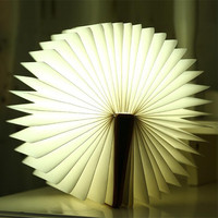 White Red Blue Green LED Book Light Creative Folding LED Nightlight Best Home Decorative USB Rechargeable