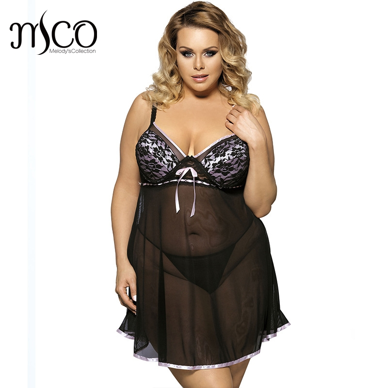 MCO Plus Size Babydoll Set Floral Lace Cup Transparent Nightgrown Backless Sexy Lingerie Dress For Women 3 colors 6xl 5xl