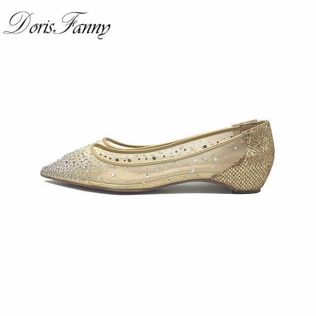 DorisFanny Bling Kristalleri kadın ayakkabı düz Hakiki Deri Iç bayanlar rahat ayakkabılar Kadın Düğün parti ayakkabıları