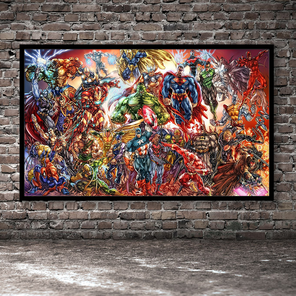 DC Marvel Large Collection Canvas Print Wall Art Fashion Home Decor Living Room Bedroom Movie Oil Paintings Poster And Picture
