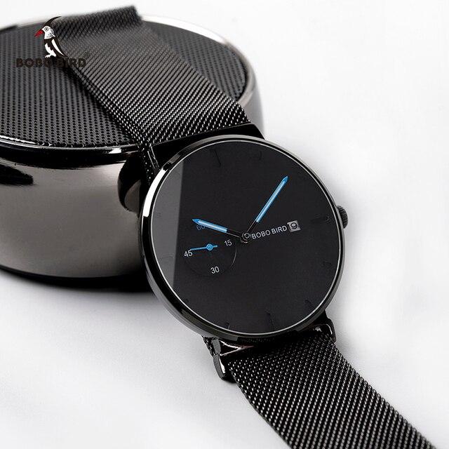 Relogio Masculino Bobo Vogel Mannen Horloge Luxe Rvs Datumweergave Quartz Horloges Vrouwen Geschenken Accepteren Logo Drop Shipping