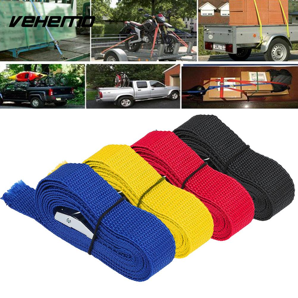 2.5M Car Fixed Strap Tie Luggage Belt Tension Rope Retractor With Buckle 4 Color