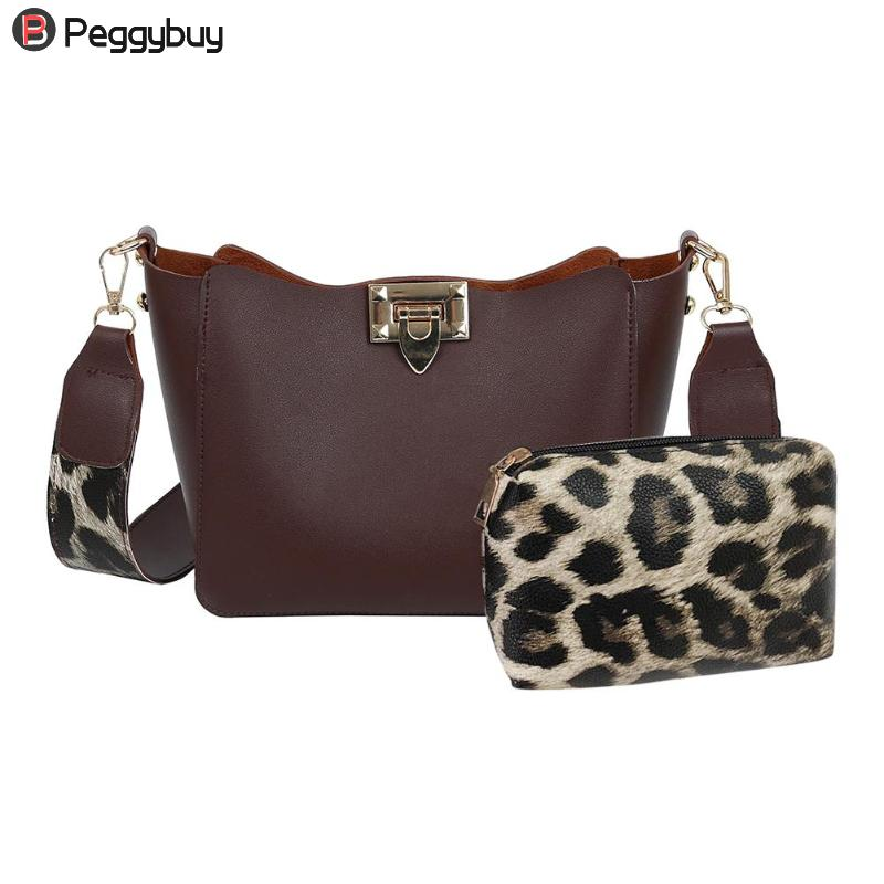 2Pcs/Set Leopard Print Shoulder Bag Female PU Leather Messenger Handbags Crossbody Bags For Women