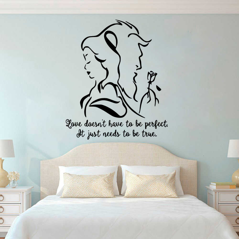 . Beauty And The Beast Wall Decal Romantic Vinyl Wall Sticker Bedroom Living  Room Decor Lover Gift Removable Movie Mural L913