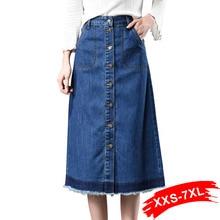 プラスサイズフレアロングデニムスカートボタンアップ 7Xl 6Xl 女性コントラスト色タッセルフリンジ足首の長さジーンズスカート