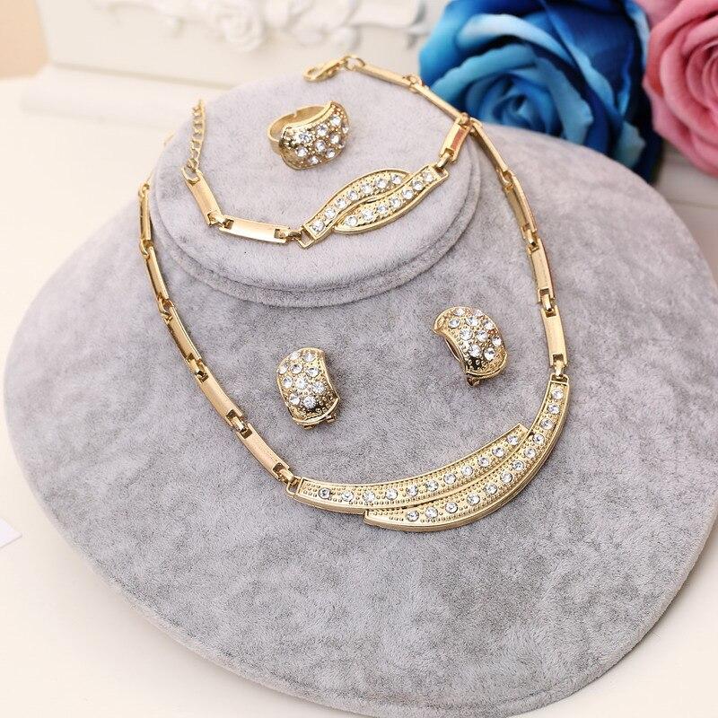 GroßZüGig Dubai Afrikanische Perlen Schmuck Set Für Frauen Goldene Überzogene Legierung Klassische Partei Schmuck Gracets Kristall Halskette Ohrringe Sets Verschiedene Stile Brautschmuck Sets Hochzeits- & Verlobungs-schmuck