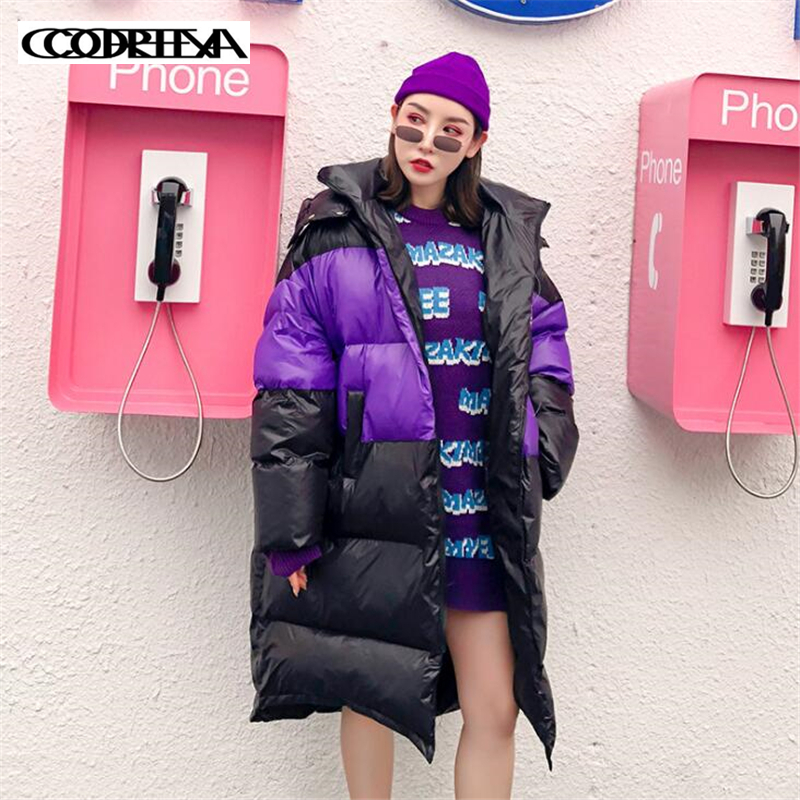 Women   Parkas   Cotton Padded Jacket Contrast loose large size thick warm Women's Jackets with Hood Long Fashion Coats For Women