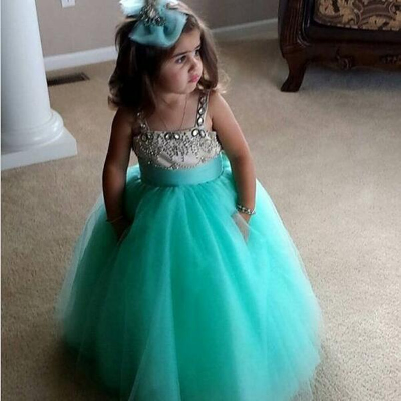 Lovely Teal Kids Prom   Dresses   with Spaghetti Straps Beaded Tulle Ball Gown   Flower     Girl     Dresses   for Wedding Party