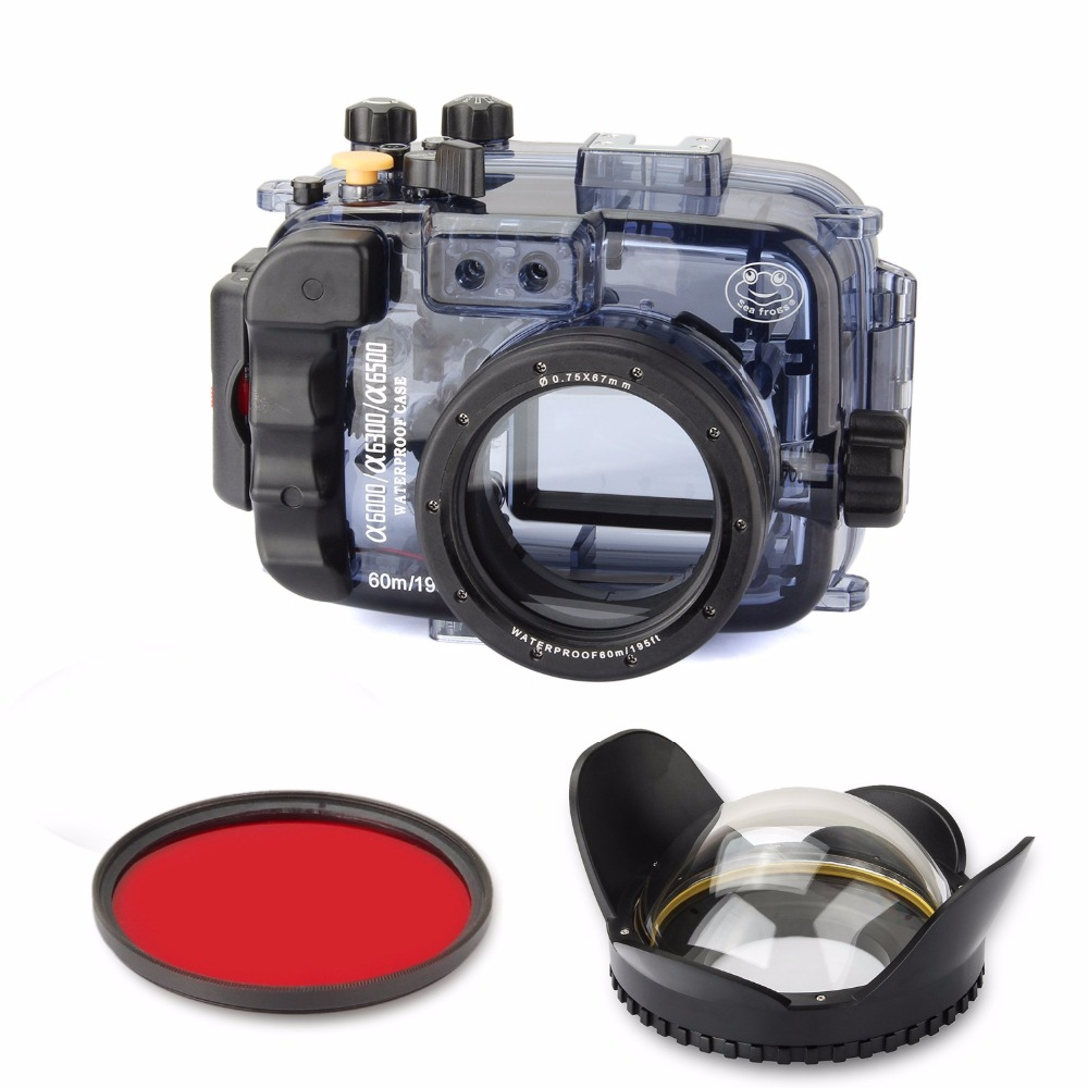 SeaFrogs 60m/195ft Waterproof Underwater Camera Housing Case for A6000 A6300 A6500 Used 16-50mm Lens+67mm Fisheye Len+Red Filter