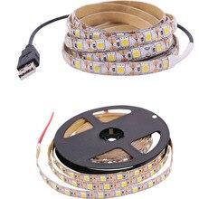 Светодиодный светильник с клейкой лентой, 5 в пост. Тока, USB интерфейс, SMD 5050, 50 см, 1 м, 2 м, 3 м, 4 м, 5 м, 60 светодиодный, s/M, ТВ, Настольный светильник s, теплый белый, красный