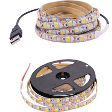 DC 5 Volt USB Interface LED Plakband SMD 5050 Strip Licht Lamp 50CM 1M 2M 3M 4M 5M 60 leds/m TV Desk Lights Warm wit Rood