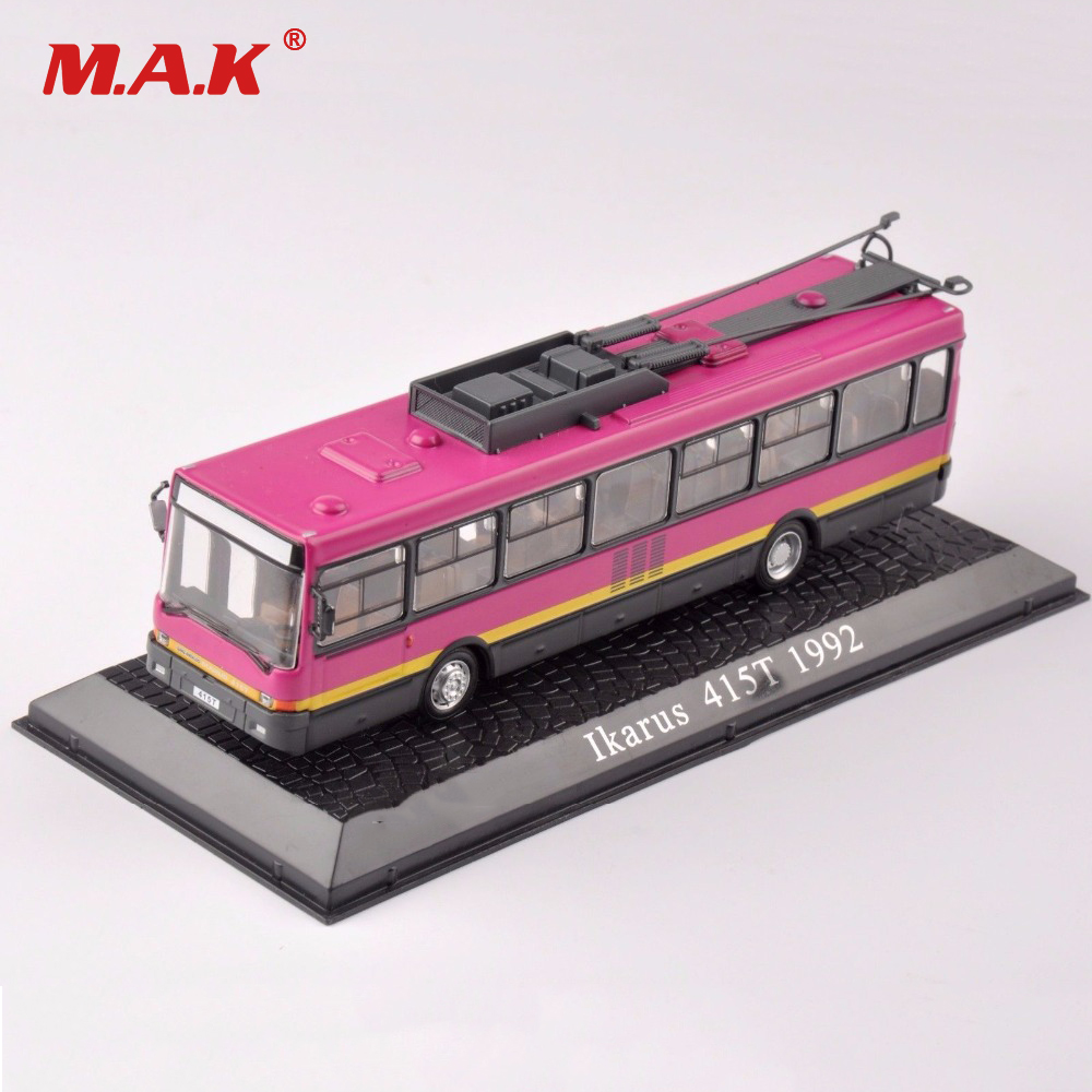 Kid Toys Atlas 1:72 Scale Diecast Ikarus 415T 1992 Bus Trams Car Vehicles Models Toys Pink for Children Boys Collection Gift