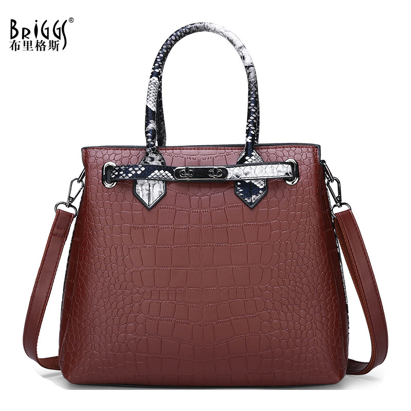 BRIGGS Alligator Womens Bags Famous Brand PU Leather Female Vintage Shoulder Bag Designer Handbags High Quality Women Handbag