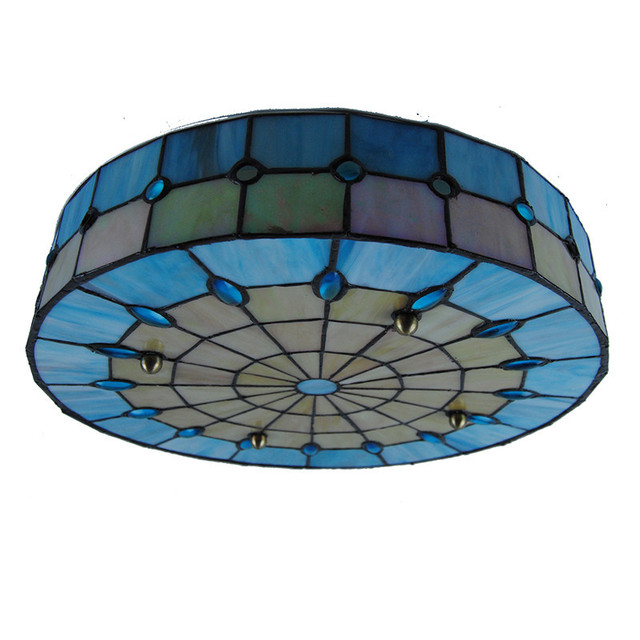 Modern Tiffany Style 3 Lamps Drum Ceiling Light Vinage Simple