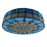 Modern Tiffany Style 3 Lamps Drum Ceiling Light Vinage Simple Stained Glass Flush Mount Lamp Fixtures