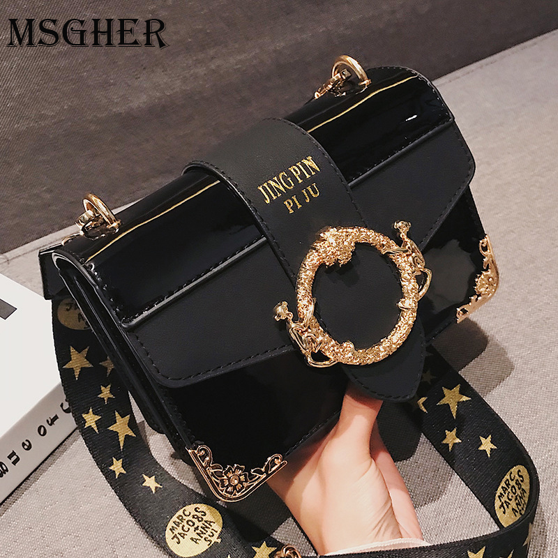 MSGHER Luxury Leather Gold Buckle Stone Shoulder Bags Women Five Star Embroidery