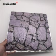 3D фиолетовый каменный тисненый узор, плитка, настенная наклейка 30*30 см, гостиная, Туалетная плитка, талия, линия, обои, водонепроницаемый, ПВХ...