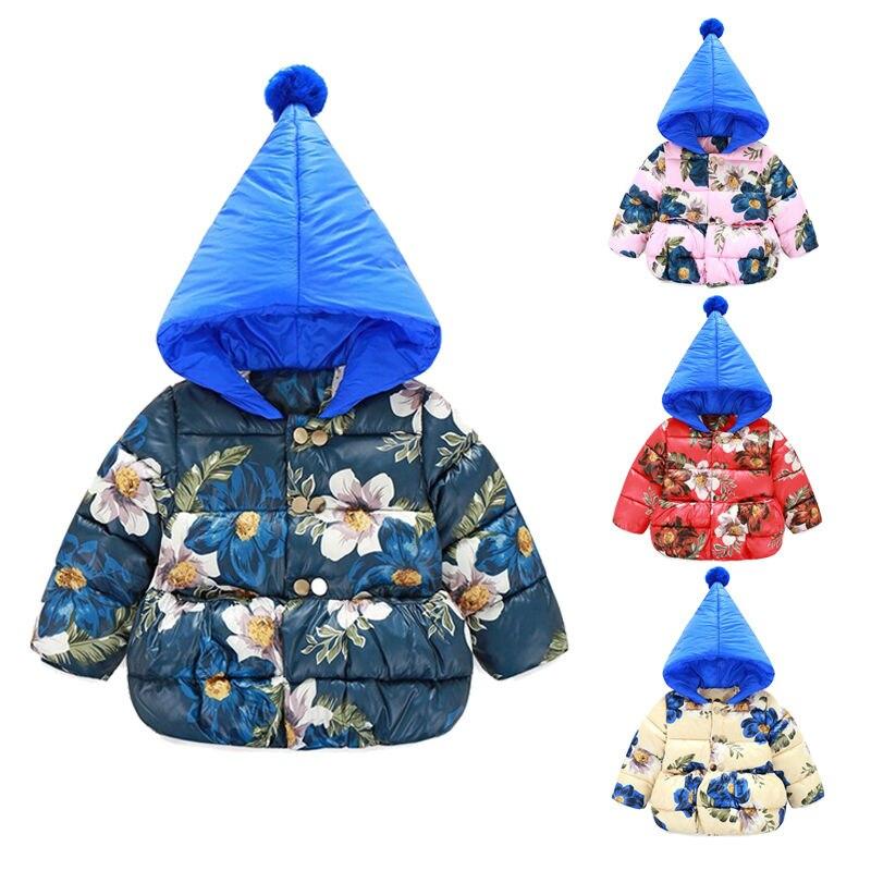 Super Cute Toddler Baby Kid Girl Winter Padded Coats Down Jackets Floral Hoodies Flower Outerwears брюки спортивные adidas performance adidas performance ad094emuoc62