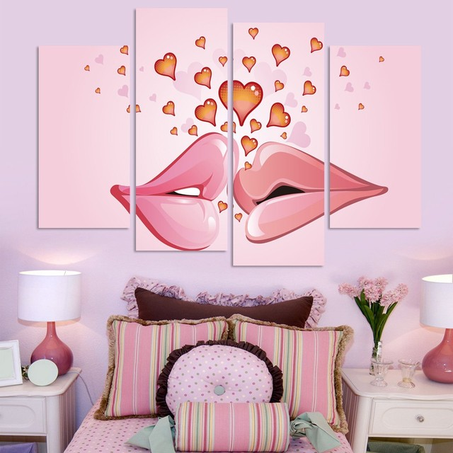 2017 Unframed Wedding Pink Canvas Painting Lips And Love Heart Wall ...