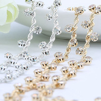 Sewing Supplies Gold And Silver Twisted Rhinestone Trim Crystal Chain For Wedding Decoration