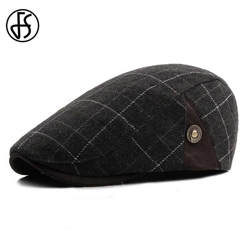 FS de moda negro azul lana boinas gorras para hombres casuales de los  hombres de otoño 7bf5c4229a9