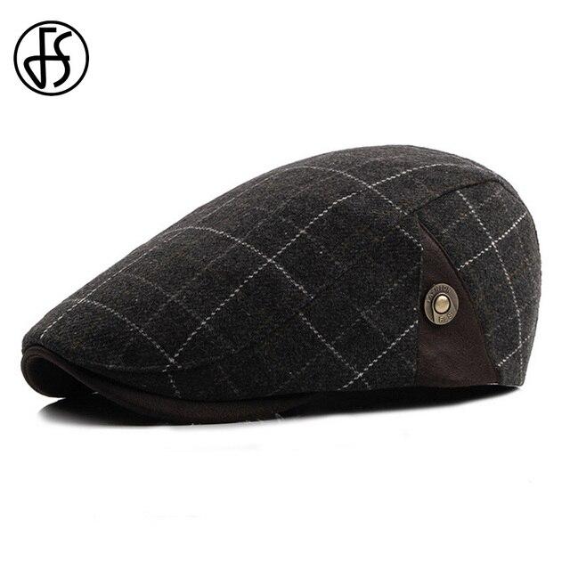 57125c6527547 FS Fashion Black Blue Plaid Wool Berets Caps For Men Men Casual Autumn  Winter Warm Beret