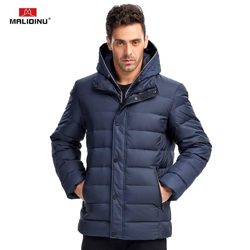 MALIDINU 2018 New Men Down Jacket Fashion Winter Down Coat Parka 70% Duck Down European Brand Thicken Jacket -30C Free Shipping