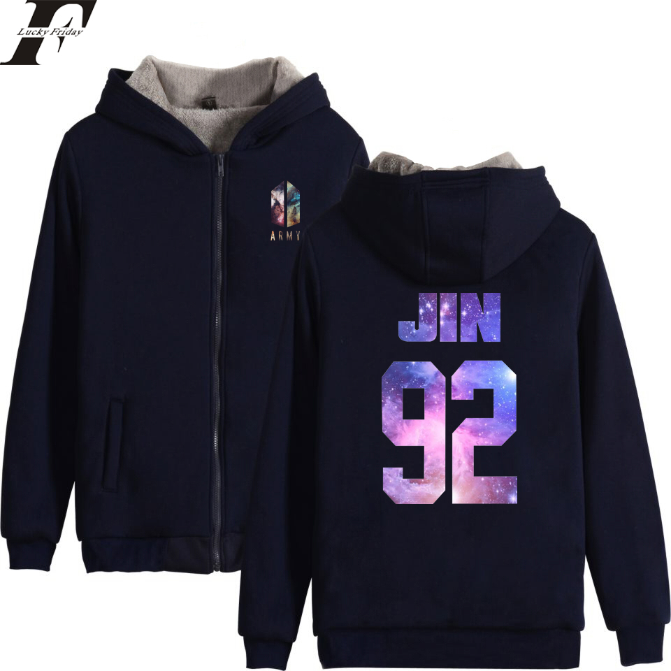 LUCKYFRIDAYF 2018 BTS LOVE YOURSELF Kpop ARMY Winter oversized Hoodies sweatshirts Men/Women Zipper tracksuit Thicken Clothes