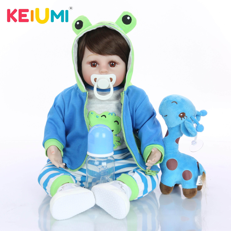 Keiumi venda quente reborn boneca do bebê macio silicone pano corpo realista moda boneca brinquedo recém nascido com girafa crianças presentes de aniversário