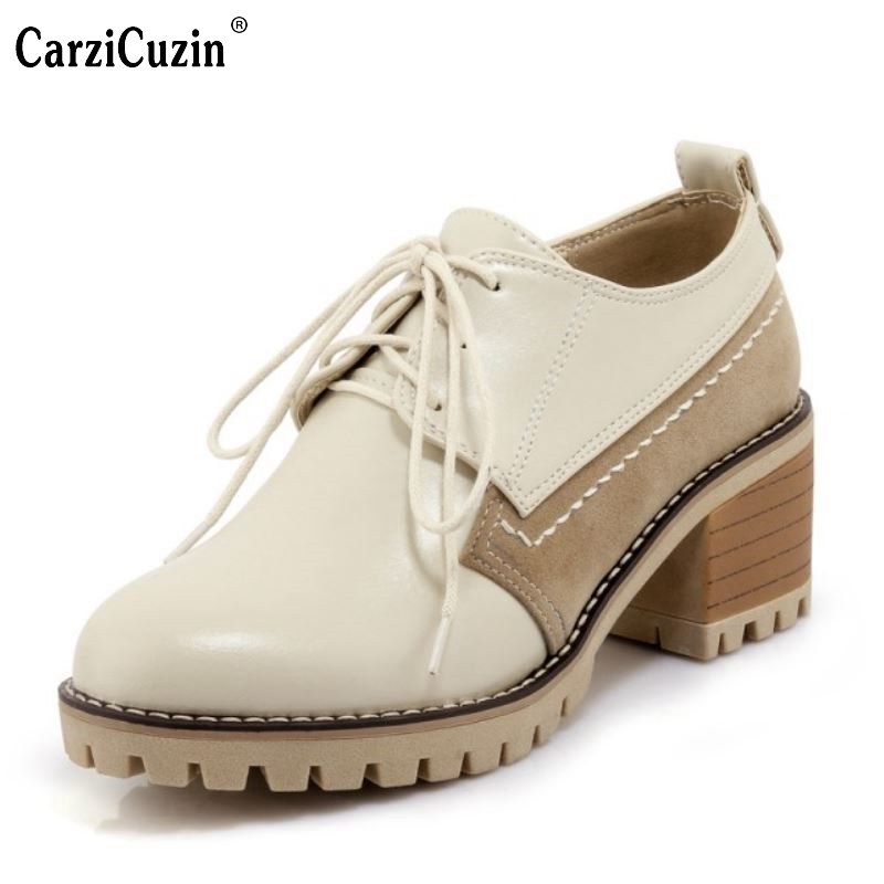 CarziCuzin Size 32-43 Retro Women High Heel Shoes Women Patchwork Cross Strap Round Toe Thick Heel Pumps Daily Office Lady Shoes