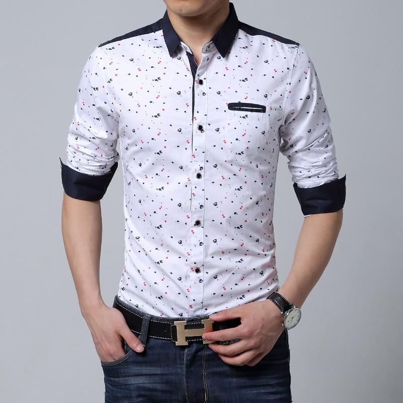 Men long sleeve shirt casual slim fit cotton printed Male black ...