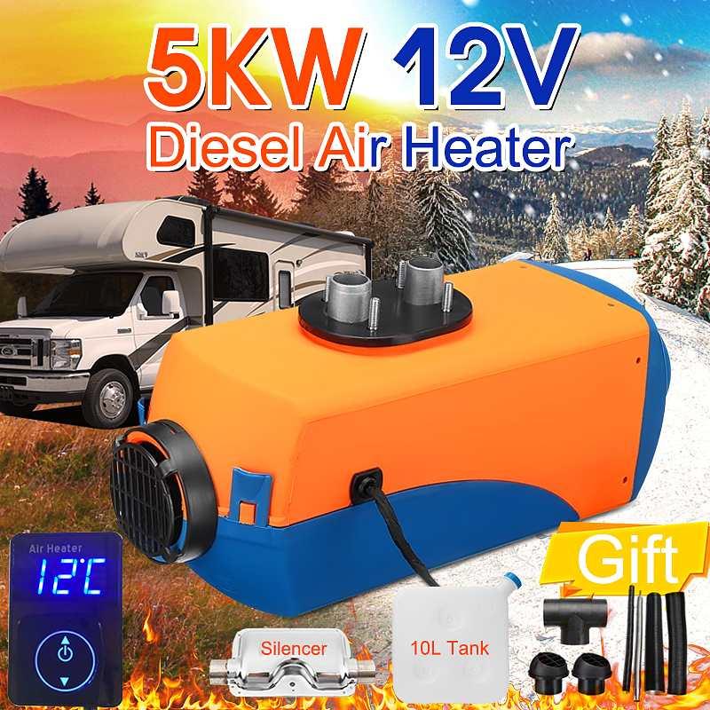 5000W 12V Air Parking diesels chauffage à carburant unique trou 5KW pour bateaux Bus voiture chauffage numérique bouton interrupteur silencieux gratuitement