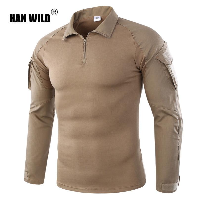 HAN WILD Men's Hiking Shirts Outdoor Hiking T-shirt Military Tactical Shirt Men Camouflage Shirt For Shooting Hunting Plus Size